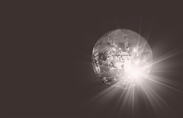 Fotomurales - Party disco mirror ball reflecting purple lights