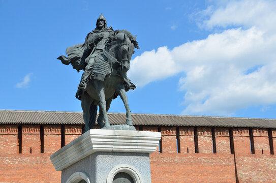 Kolomna, Russia, June, 29,2014. Kolomna, Russia, ancient Kremlin, the monument to Dmitry Donskoy