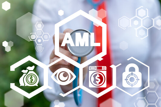 Businesswoman touch stethoscope to AML virtual acronym button. Anti Money Laundering AML Business Finance Concept. Social Problem. Сorruption and Bribery Protection.