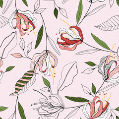 Pink pastel blooming  Flowers lily with green leaves. Realistic isolated seamless floral pattern for textile, fashion, fabric, web