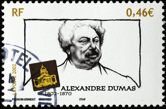 Alexandre Dumas on french postage stamp