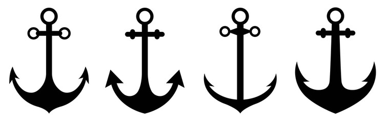 Anchor icon set. Anchor symbol logo design. Ship anchor or boat anchor flat icon for apps and websites.Simple, flat, black anchor silhouette icon. Vector illustration