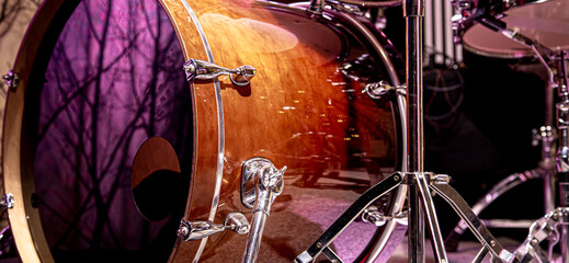 Drum kit, drums in the Studio on a beautiful background. Wall mural