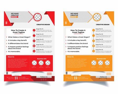 Flyer Layout with Red and yellow Accents. business flyer design. EPS 10