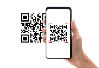 Hand using mobile smart phone scan Qr code. Barcode reader, Qr code payment, Cashless technology,...