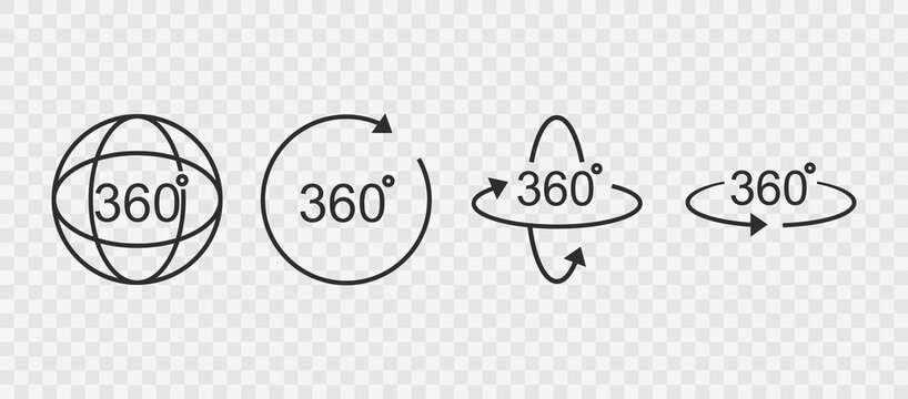 360 degrees line icon. Rotation symbol isolated in transparent background. Vector illustration EPS 10.