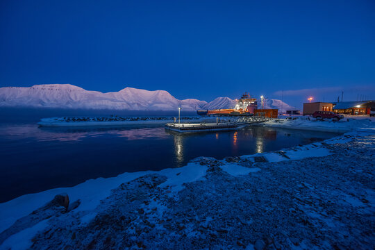norway landscape ice nature of the city view of Spitsbergen Longyearbyen   Mountain Svalbard   arctic ocean winter  polar night view