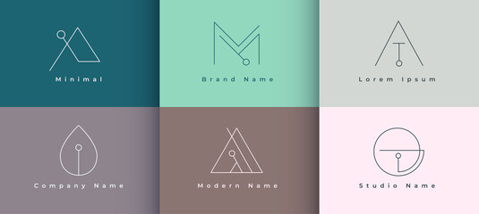 minimal logo design collection of six template
