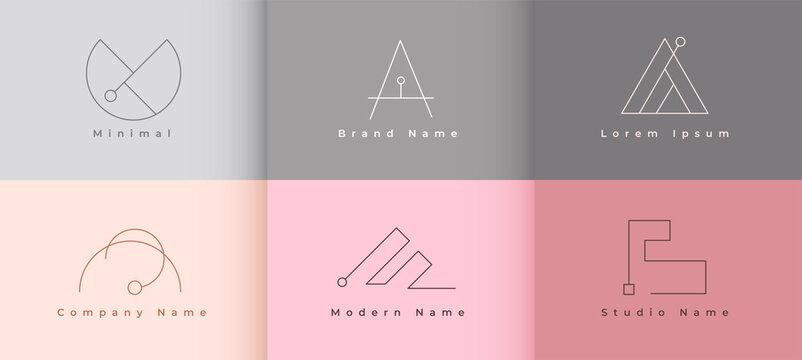 clean minimalist logo template set of six