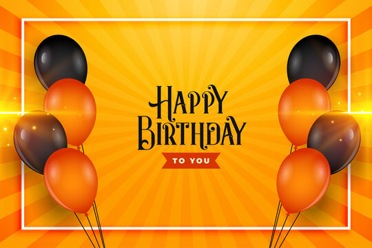 happy birthday balloons wishes card background design