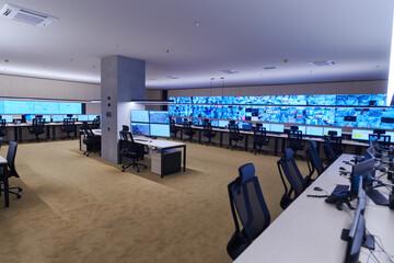 Obraz Empty interior of big modern security system control room - fototapety do salonu