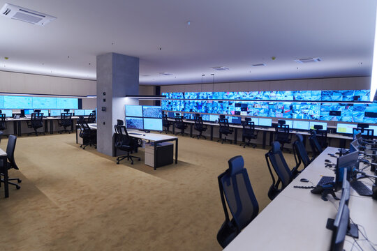 Empty interior of big modern security system control room