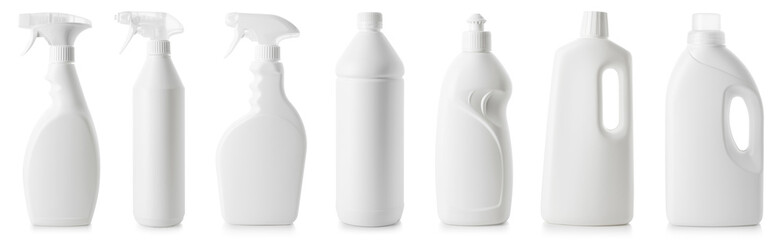 Obraz Set of white bottles of different cleaning procucts - fototapety do salonu