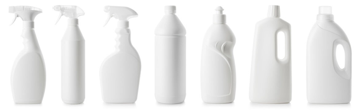 Set of white bottles of different cleaning procucts