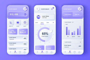 Finance services unique neumorphic design kit for mobile app. Credit card balance, checking account, transaction confirmation. Online banking UI, UX template set. GUI for responsive mobile application