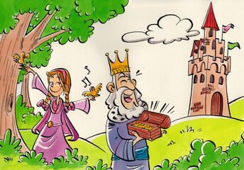 Printed kitchen splashbacks Castle country landscape, with green hills, trees and bushes, with a princess dressed in pink and her father the king in the foreground, and a medieval castle in the background