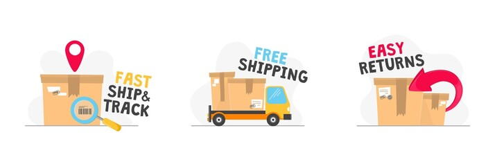 Fast ship track free shipping and easy returns vector illustration. Shipping icons labels flat style. Bright pics with inscriptions. Isolated on white background