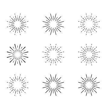 Sunburst set isolated on white background.Vector Sunburst black color set ( 9 icon set )