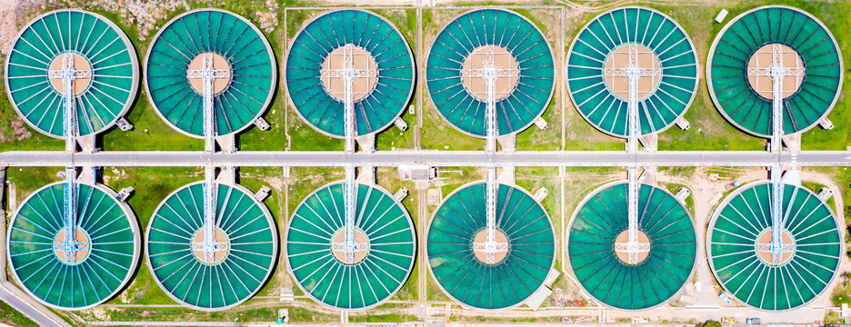Tap water purification plant. Recirculation solid contact Clarifier sedimentation tank of Water treatment plant
