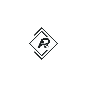 AR or RA letter designs with different colors and backgrounds