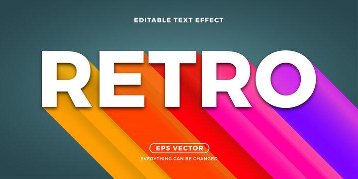 Retro long shadow editable text vector
