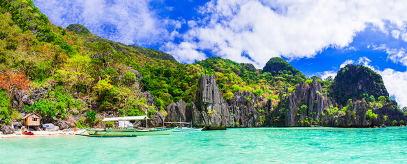 Tropical nature and  exotic wild beauty of unique Palawan island. Magical El Nido. Philippines, island hopping Fotobehang
