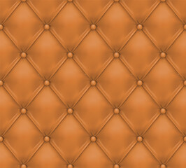 Wall Murals Pattern Camel colored buttoned leather upholstery background - eps10 vector