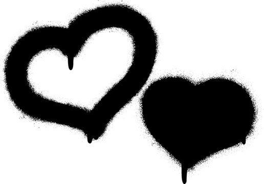 Two spray graffiti hearts on white. Fall in love and St. Valentine's day concept on February 14th.