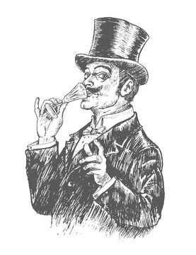 Elegant gentleman in top hat holding a glass of alcohol drink. Vintage engraving style. Victorian Era hand drawn vector illustration