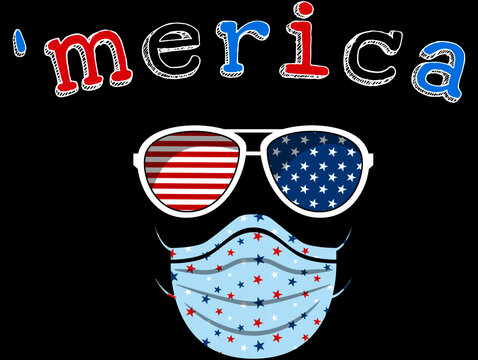 Merica 4th of July Quarantine Funny Fourth of July American Usa Flag Sunglasses 4 July Celebration Virus Face Mask Red Blue White Stars Seamless Pattern America Sunglasses Surgical Mask 4th July