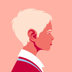 Portrait of a happy blond boy. The child's face in profile. Avatar of a schoolboy. Side view. Vector flat illustration