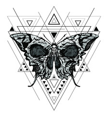 Greater death's head hawk-moth or skull butterfly vector abstract illustration isolated on white background with triangles and linear shapes in the style of modern tattoo.