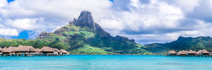 Bora Bora Island, French Polynesia. Web banner in panoramic view. Wall mural