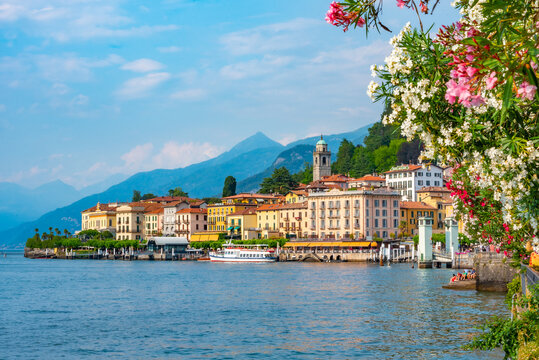 Lakeside view of Italian town Bellagio situated at lake Como