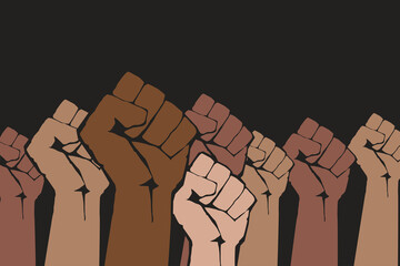 Canvas Prints Wall Decor With Your Own Photos Stop racism. Many multi colored fist protesting on dark background. Black lives matter. Different races hands protest, interracial community unity. Modern vector in flat style. New movement