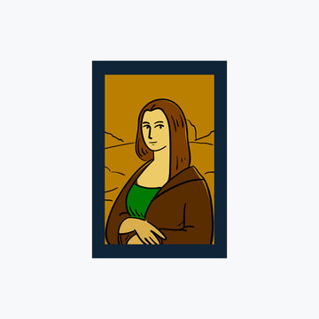 The Illustration of Monalisa Painting. Isolated Vector Illustration
