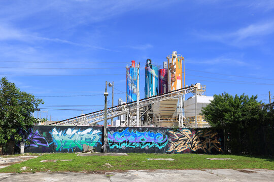 Miami, United States - august 28, 2017: Graffiti work in Wynwood District, Miami, FL. Wynwood District is home to over 70 galleries, museums and collections