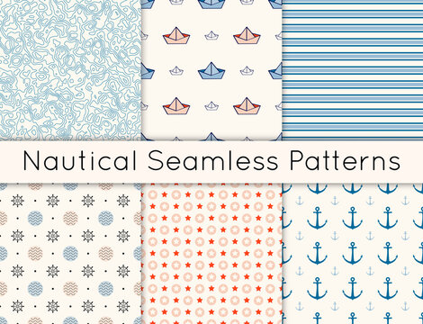 Set of 6 vector seamless nautical patterns with topographic map texture, anchors, steering wheels, boats, stripes, stars and polka dot. Collection of backgrounds inmaritime style, pink and blue color