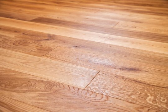Luxury oak parquet flooring after the application of oil-based floor finish, which tends to enhance the appearance of parquet