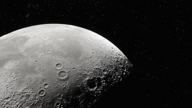 realistic moon in space, realistic moon surface, moon craters 3d render