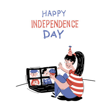Independence day in the period of coronavirus epidemic, postcard drawn in vector. July 4th celebration via video calling