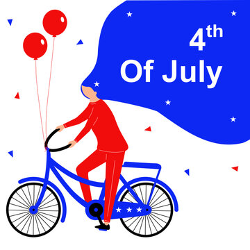 Fourth of July girl flat character with bicycle