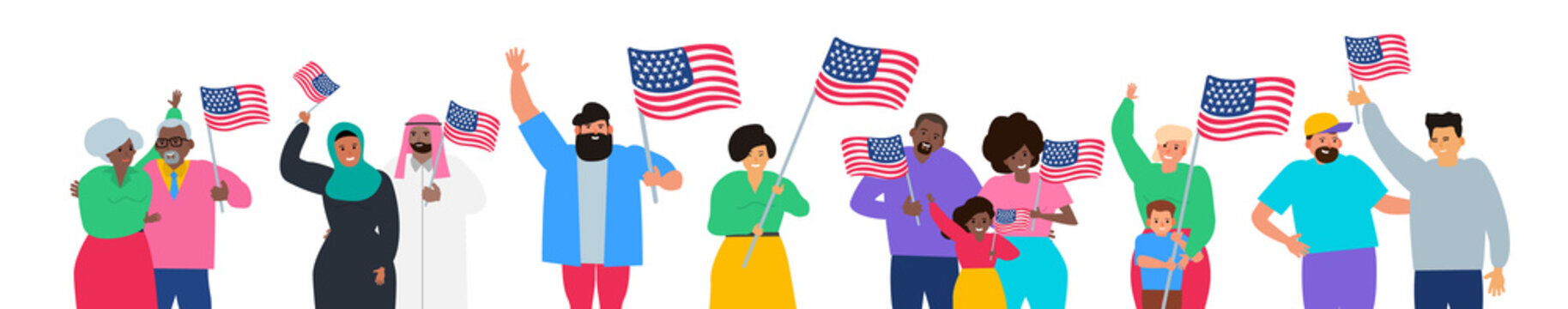 happy multiracial people holding american flags happy independence day usa vector illustration on white background