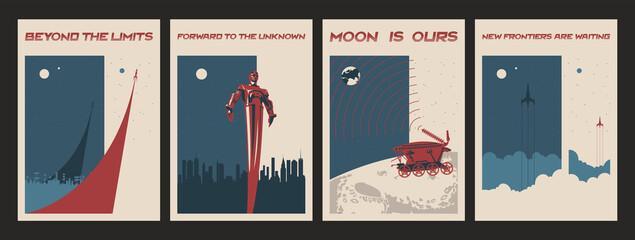 Retro Soviet Space Propaganda Poster Set. Moonwalker, Rockets Launch, Flying Man.