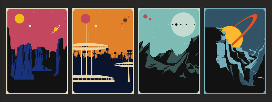 Retro Future Space Poster Set, Alien Planet Landscapes, Mid Century Modern Art Style