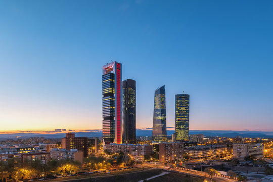 Madrid Spain, night city skyline at financial district center with four towers