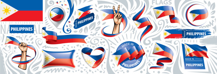 Vector set of the national flag of Philippines in various creative designs