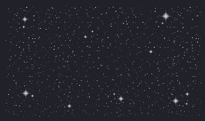 Fototapeta Stary night sky horizontal vector background. Vector illustration obraz