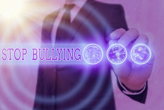 Word writing text Stop Bullying. Business photo showcasing voicing out their campaign against violence towards victims Elements of this image furnished by NASA