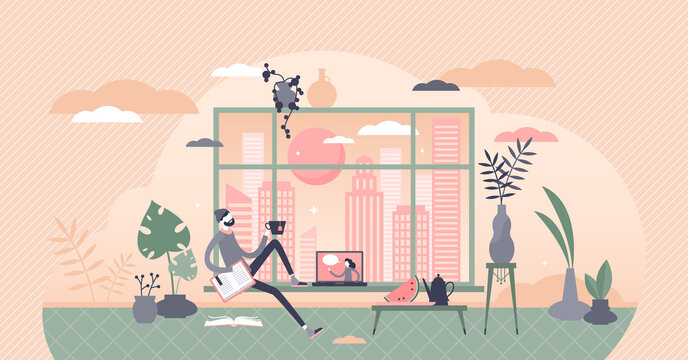 Free time vector illustration. Relaxing at home flat tiny persons concept.